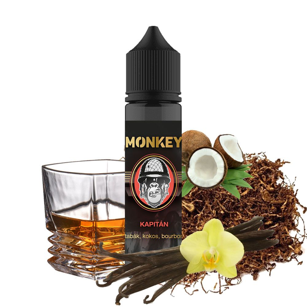 KAPITÁN - tabák, kokos, bourbon - Monkey shake&vape 12ml Monkey liquid